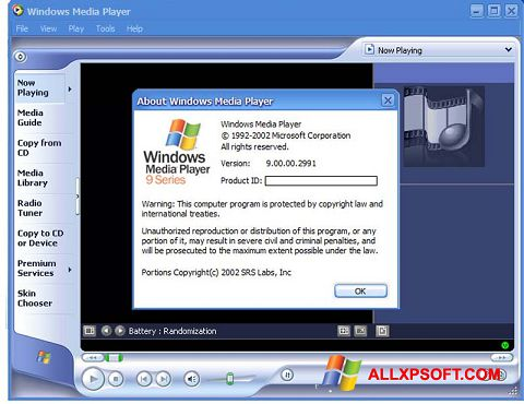 Screenshot Windows Media Player Windows XP
