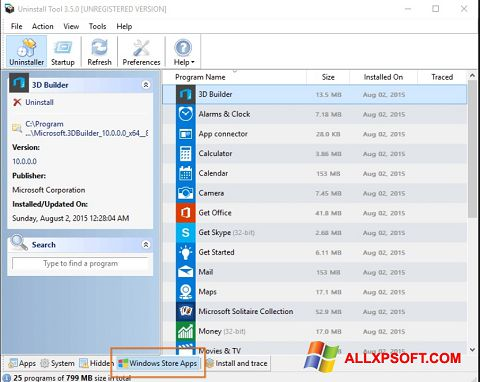 Screenshot Uninstall Tool Windows XP