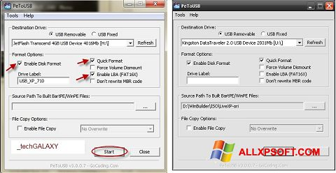 Screenshot PeToUSB Windows XP